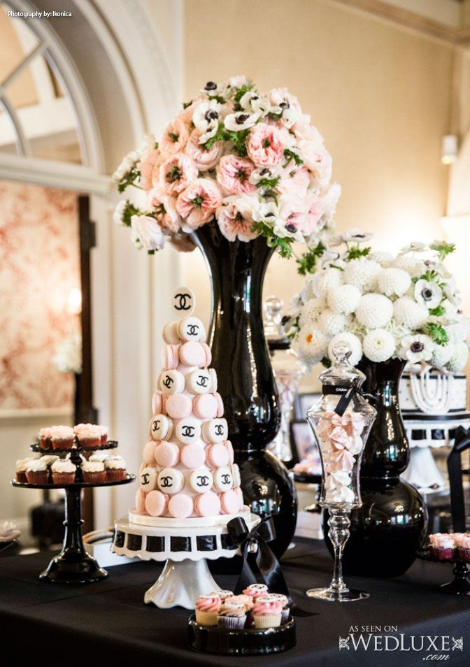 chanel themed bridal shower candy bar and dessert bar ideas