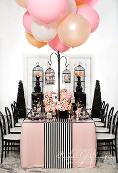 Chanel Themed Bridal Shower Centerpieces Tablescapes and Decor Ideas. The perfect inspiration for any Chanel inspired theme party or wedding event!